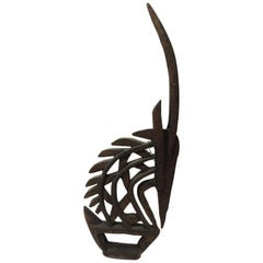 Large Antelope Chi Wara Head-Crest African Wood Carved Sculpture Primitive Art