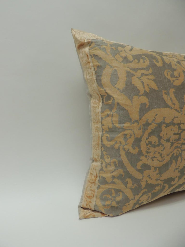 Vintage Fortuny pillow Pergolesi sand and gold color. Accentuated with a soft peach chenille antique trim with mitered corners. Golden silk backing. Decorative pillow handcrafted and designed in the USA. Closure by stitch (no zipper closure) with