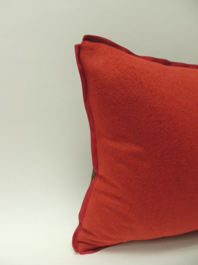 19th Century Antique Woven Red Kashmir Paisley Bolster Decorative Pillow In Good Condition For Sale In Oakland Park, FL