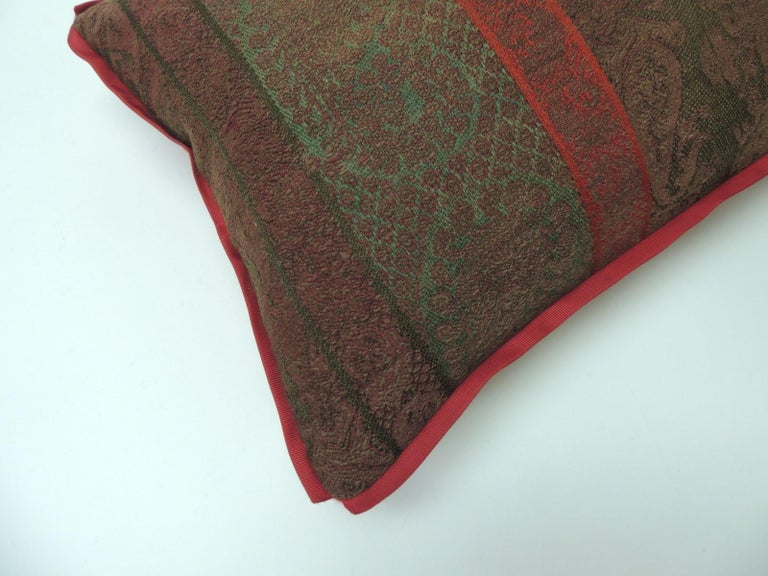 Indian 19th Century Antique Woven Red Kashmir Paisley Bolster Decorative Pillow For Sale