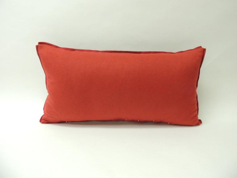 Hand-Crafted 19th Century Antique Woven Red Kashmir Paisley Bolster Decorative Pillow For Sale
