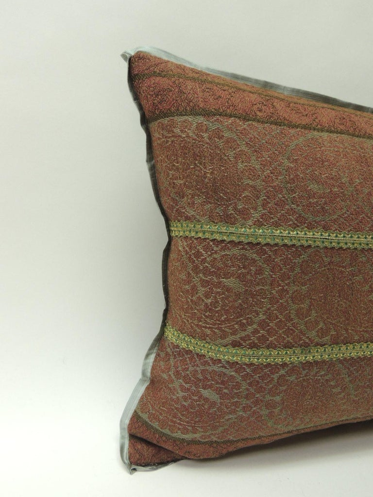 19th century antique woven red Kashmir Paisley Bolster decorative pillow.