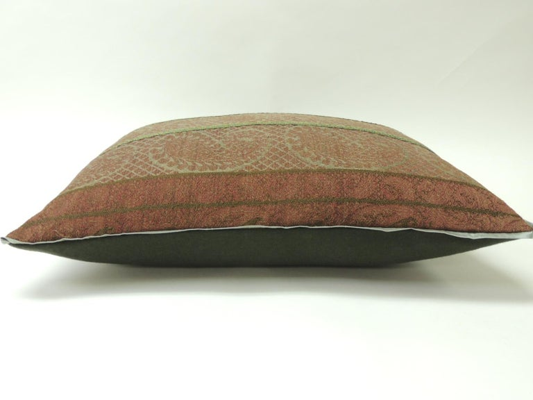 Victorian 19th Century Antique Woven Red Kashmir Paisley Bolster Decorative Pillow For Sale