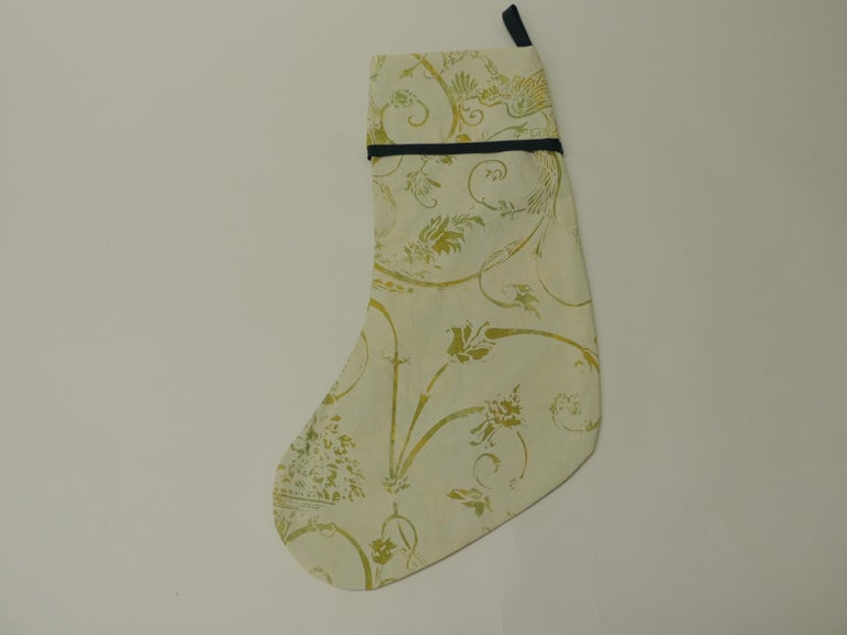 American Artisanal Green Holiday Gift Stocking Double-Sided For Sale