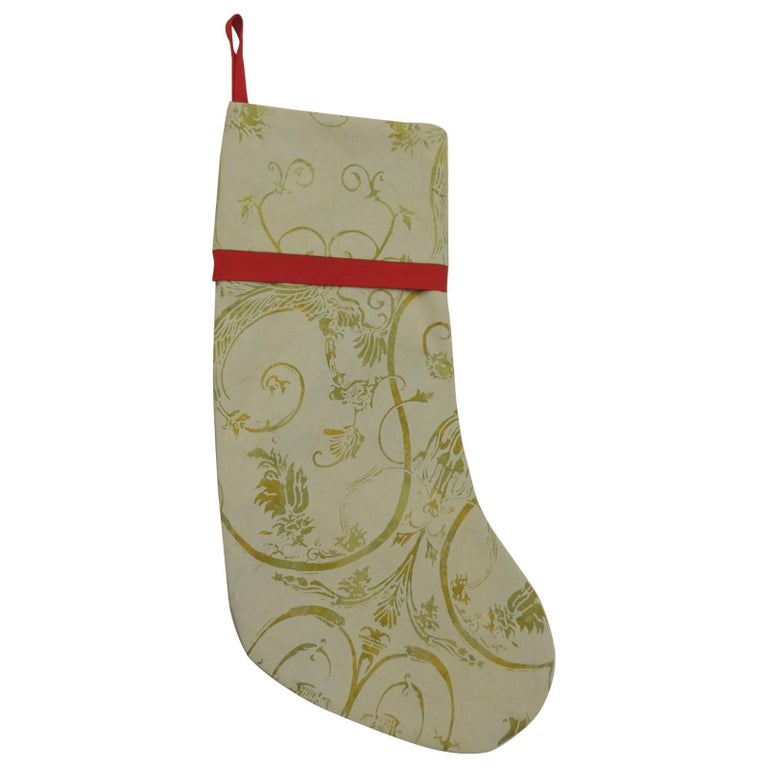 Artisanal Red Holiday Gift Stocking Double-Sided For Sale