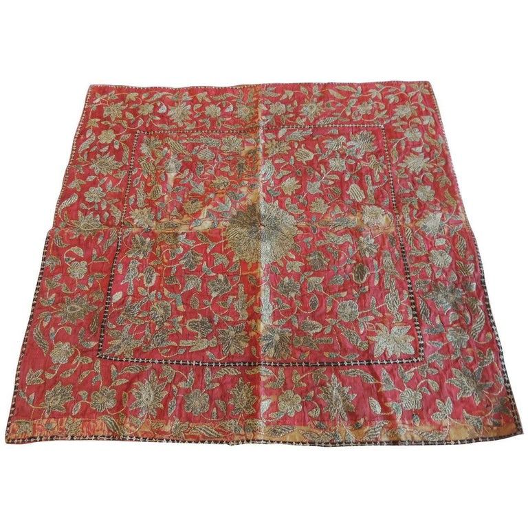 19th Century Red and Gold Persian Embroidery Square Panel For Sale
