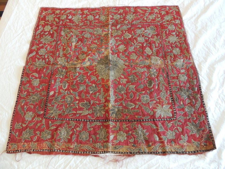 Red silk velvet with metallic threads in silver and gold. great piece for collectors of antique textiles, circa 19th century. Persian embroidery panel with faded silk velvet backing. Centre medallion motif depicting vines and flowers. Ideal for the