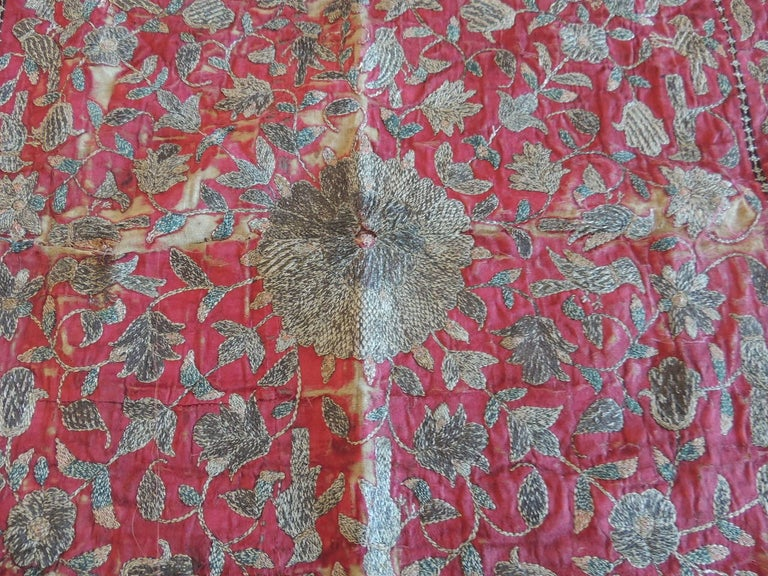Moorish 19th Century Red and Gold Persian Embroidery Square Panel For Sale