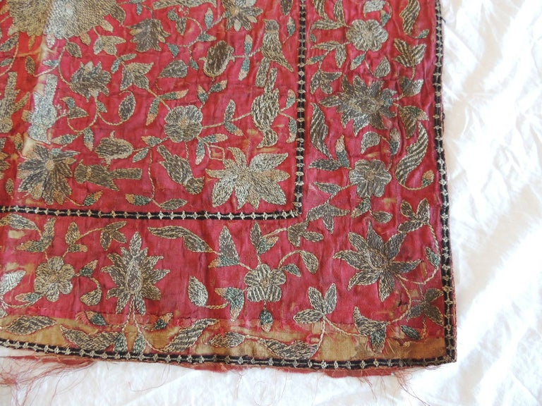 Turkish 19th Century Red and Gold Persian Embroidery Square Panel For Sale