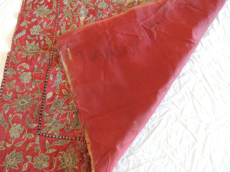 Hand-Crafted 19th Century Red and Gold Persian Embroidery Square Panel For Sale