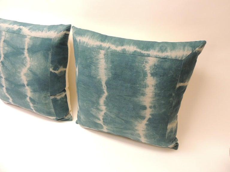 Asian Pair of Vintage Green Shibori Square Throw Pillows For Sale