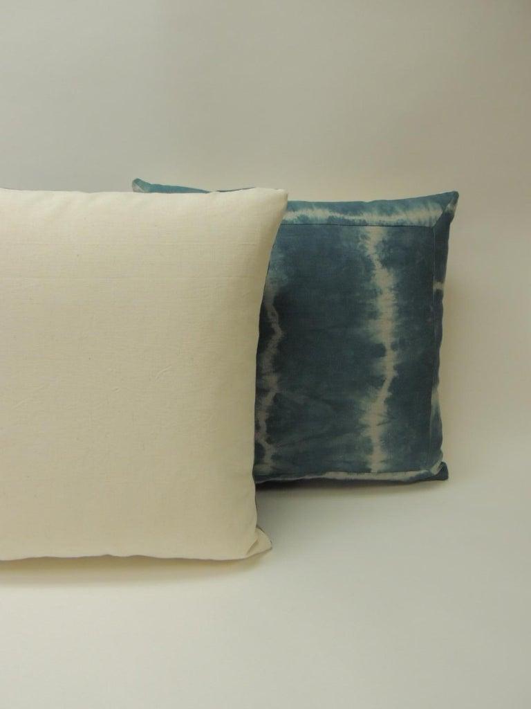 Late 20th Century Pair of Vintage Green Shibori Square Throw Pillows For Sale