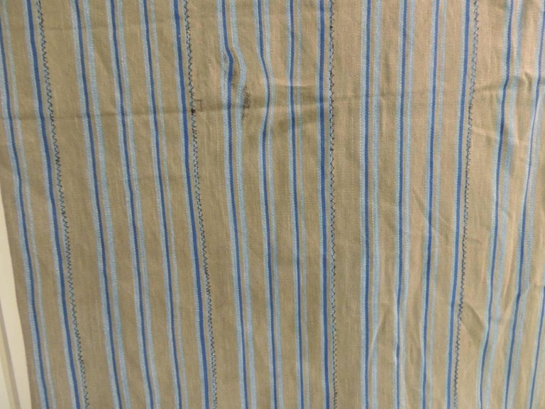 Tribal Vintage African Grey and Blue Stripes Yoruba Reversible Artisanal Cloth For Sale