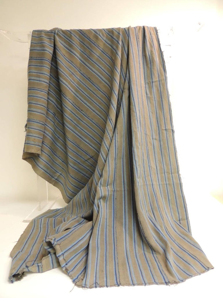 Hand-Crafted Vintage African Grey and Blue Stripes Yoruba Reversible Artisanal Cloth For Sale