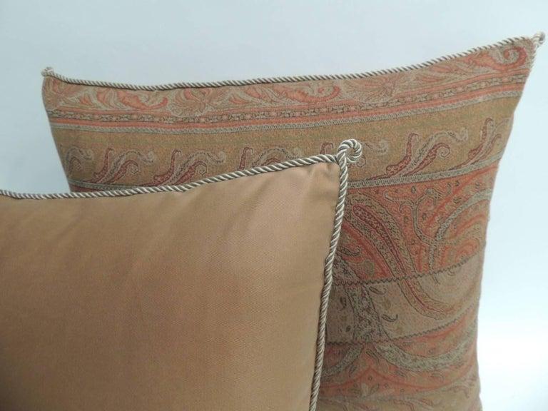 Pair Of Red Kashmir Antique Textile Paisley Decorative Pillows With Magnificent Decorative Trim For Pillows