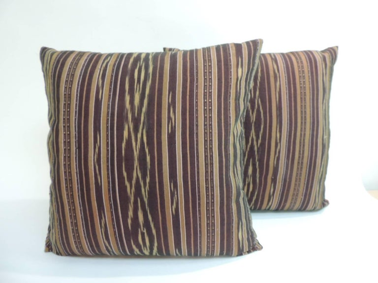 Pair of Vintage Red and Yellow Silk Laos Decorative Pillows For Sale at 1stdibs