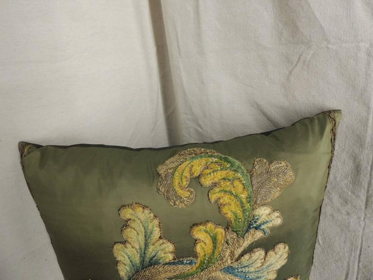 Baroque 19th Century Silk Applique Bolster Decorative Pillow For Sale