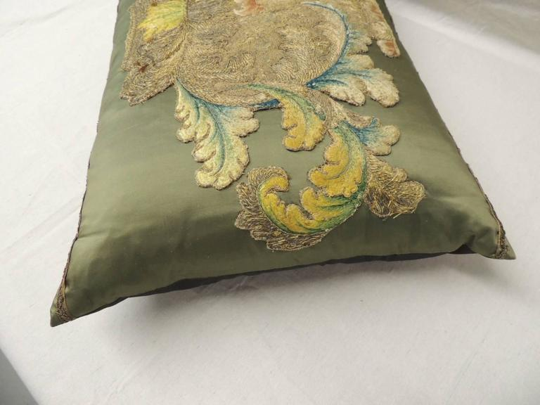 French 19th Century Silk Applique Bolster Decorative Pillow For Sale