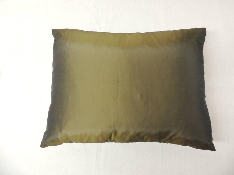 Hand-Crafted 19th Century Silk Applique Bolster Decorative Pillow For Sale