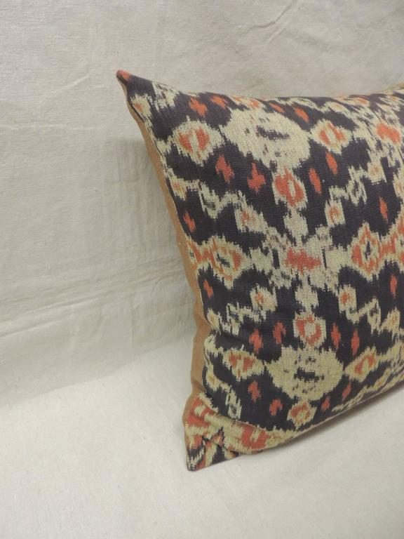 Pair of Vintage Orange and Dark Ikat Indigo Decorative Pillows. For Sale at 1stdibs
