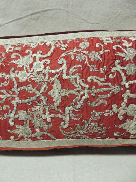18th Century Persian Silver and Red Decorative Bolster Pillow For Sale at 1stdibs