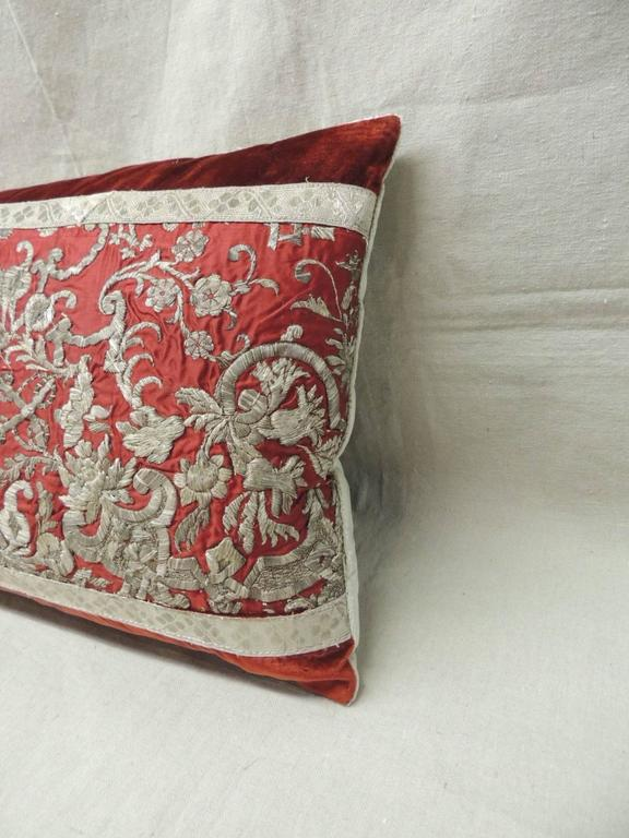 Large Decorative Bolster Pillows : 18th Century Persian Silver and Red Decorative Bolster Pillow For Sale at 1stdibs