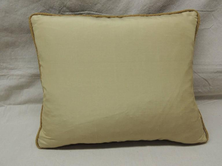 French 19th Century Fleur de Lis Embroidery Tapestry Decorative Pillow For Sale