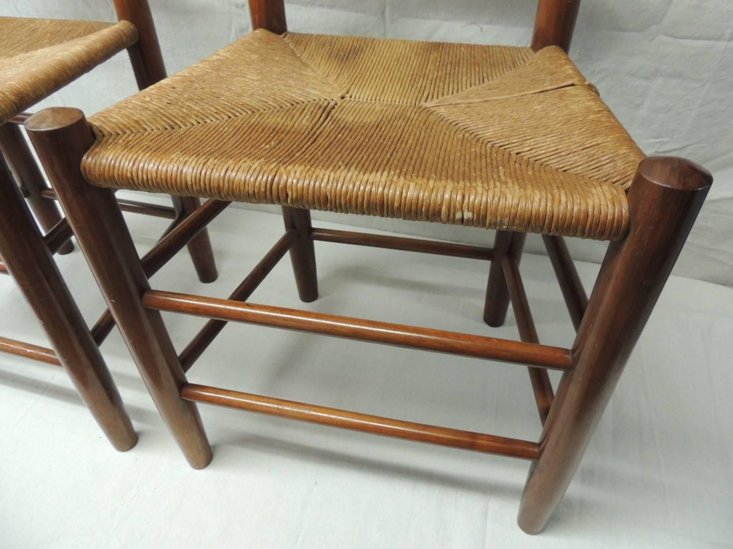 pair of french country side chairs with rush seats for