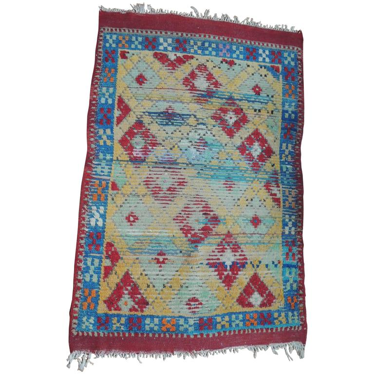 Vintage Yellow, Blue And Red Anatolian Rug For Sale At 1stdibs