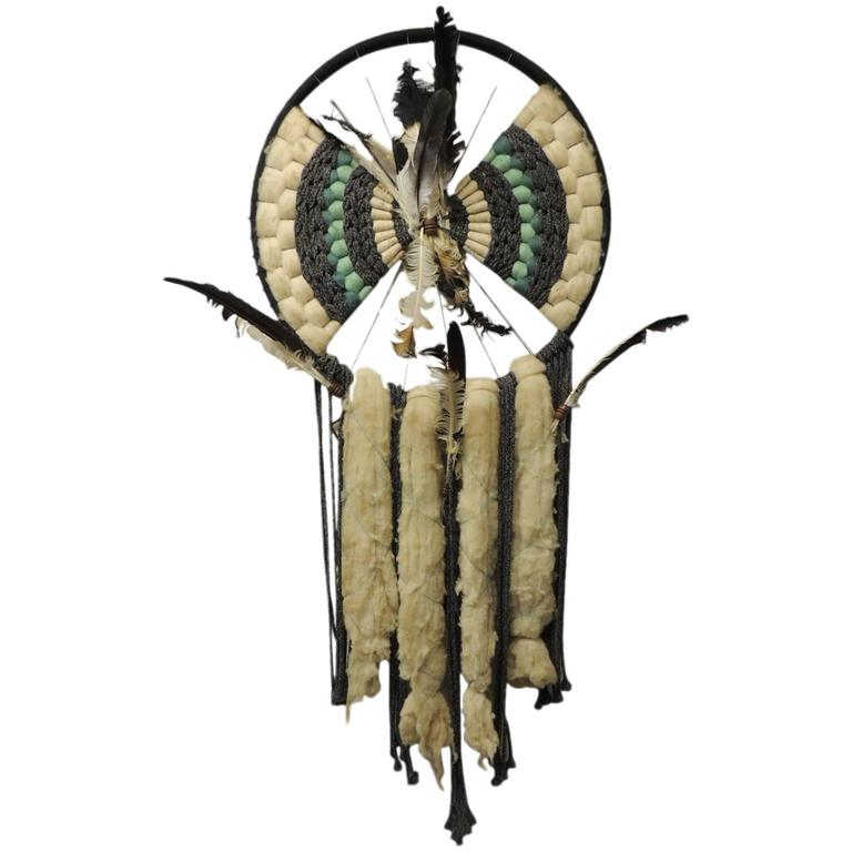 """Native American Wall Hangings native american wall hanging sculpture """"dream catcher"""" at 1stdibs"""