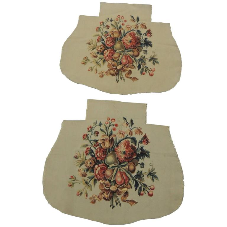 Pair Of Antique Aubusson Tapestry Chair Seat Covers