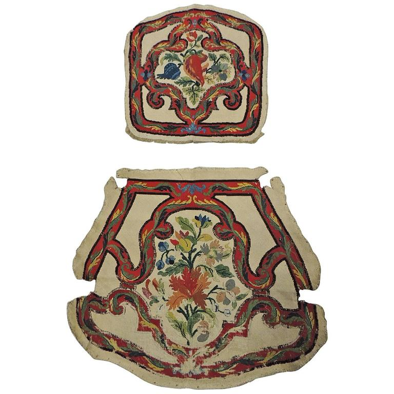 Set Of Antique Floral Tapestry Needlework Chair Covers For Sale