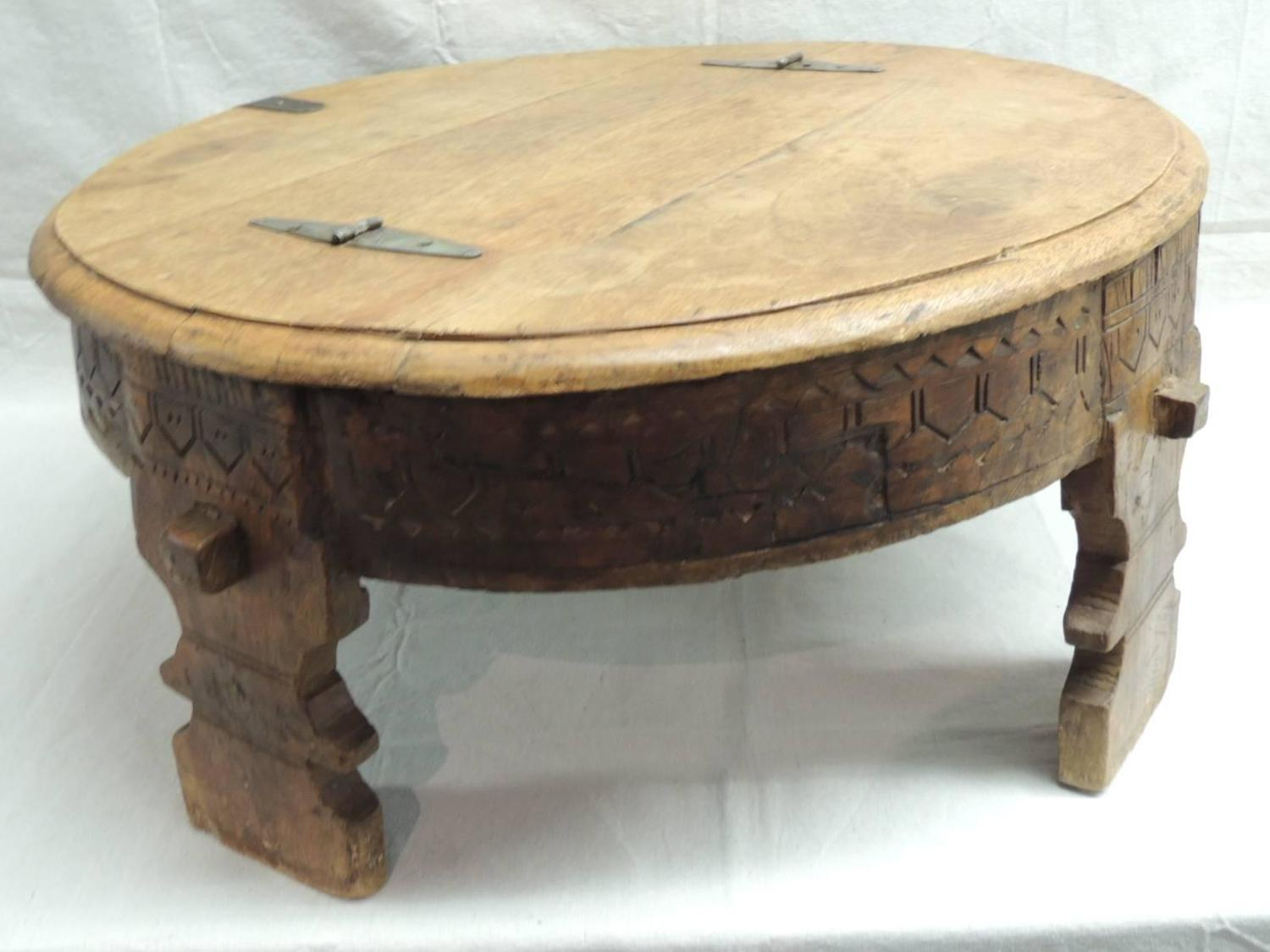 Moroccan carved round coffee table for sale at 1stdibs Moroccan coffee tables