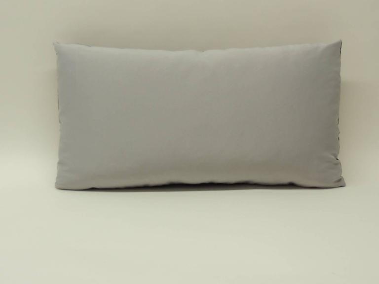 Uzbek Antique Purple Silk Ikat Decorative Bolster Pillow For Sale