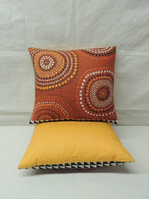 Pair of Orange Mod Design Vintage Linen Decorative Pillows For Sale at 1stdibs