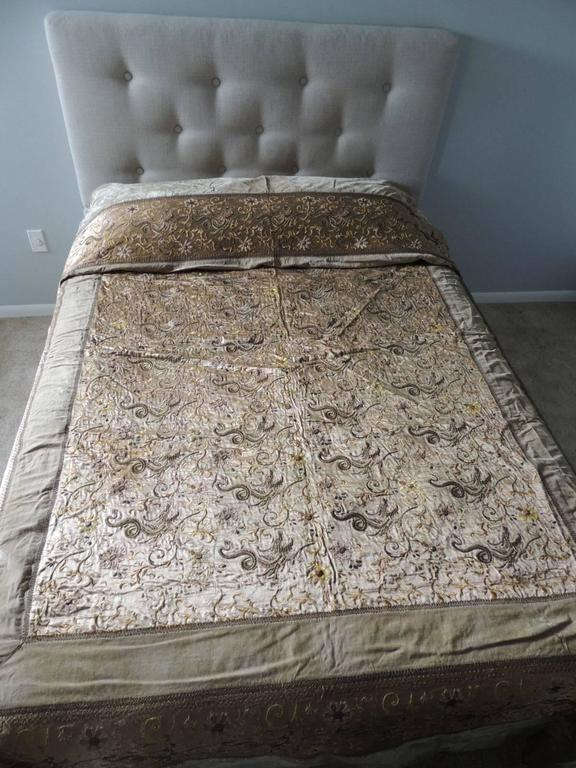 Chinese Green Asian Silk Embroidered Bed Cover or Wall Hanging Tapestry For Sale