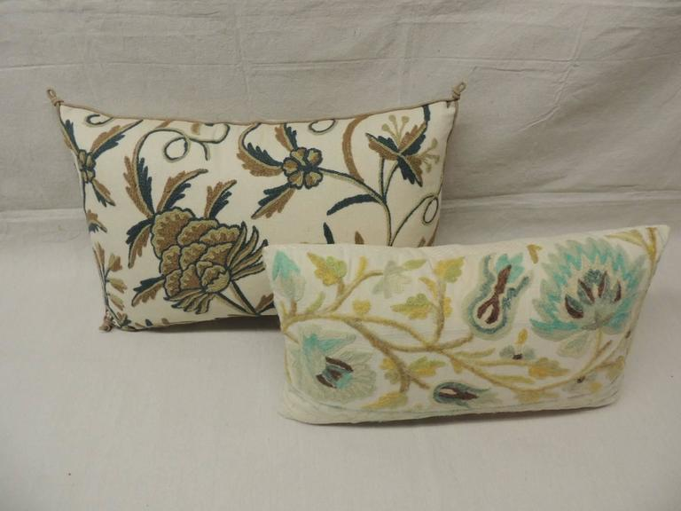English Decorative Crewel Work Pillows From The Early