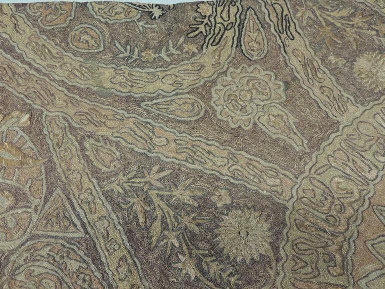 Linen Turkish Ottoman Empire Metallic Embroidery Cloth For Sale