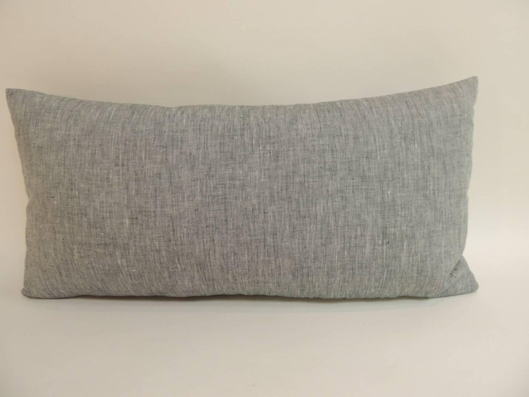 Vintage Blue and White Indian Bolster Decorative Pillow For Sale at 1stdibs