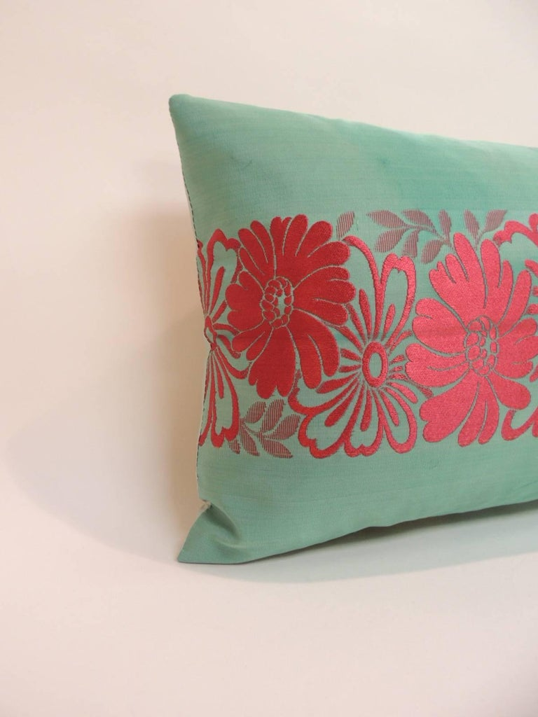 Vintage Asian Colorful Green and Red Silk Woven Obi Decorative Lumbar Pillow For Sale at 1stdibs