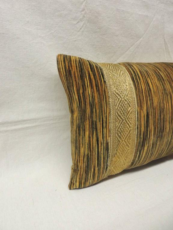 19th century silk velvet bolster pillow. Strie velvet long bolster pillow with 19th century metallic gold threads embroidered ribbon.  Yellow textured silk backing. One of the kind antique textile.  Pillow hand-made and designed in the USA.  Closure