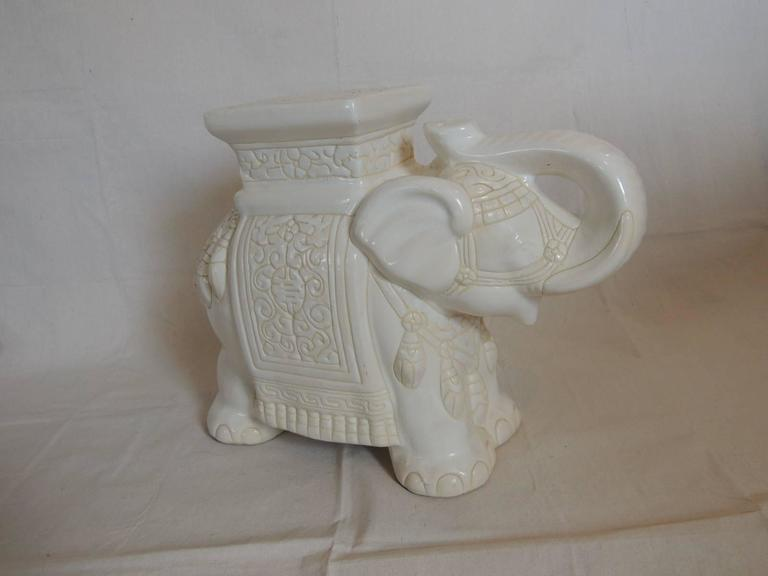 Mid Century Modern White Ceramic Elephant Garden Stool At