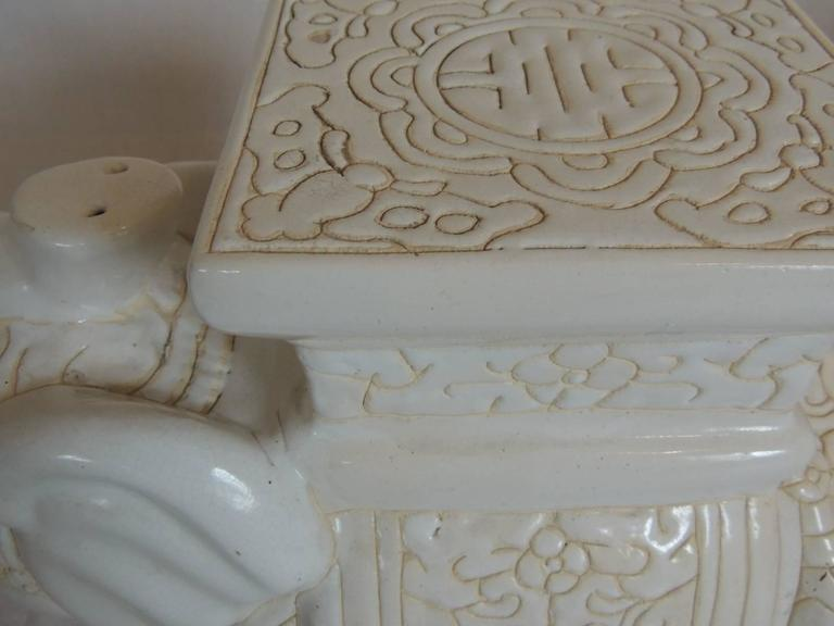 Mid Century Modern White Ceramic Elephant Garden Stool At