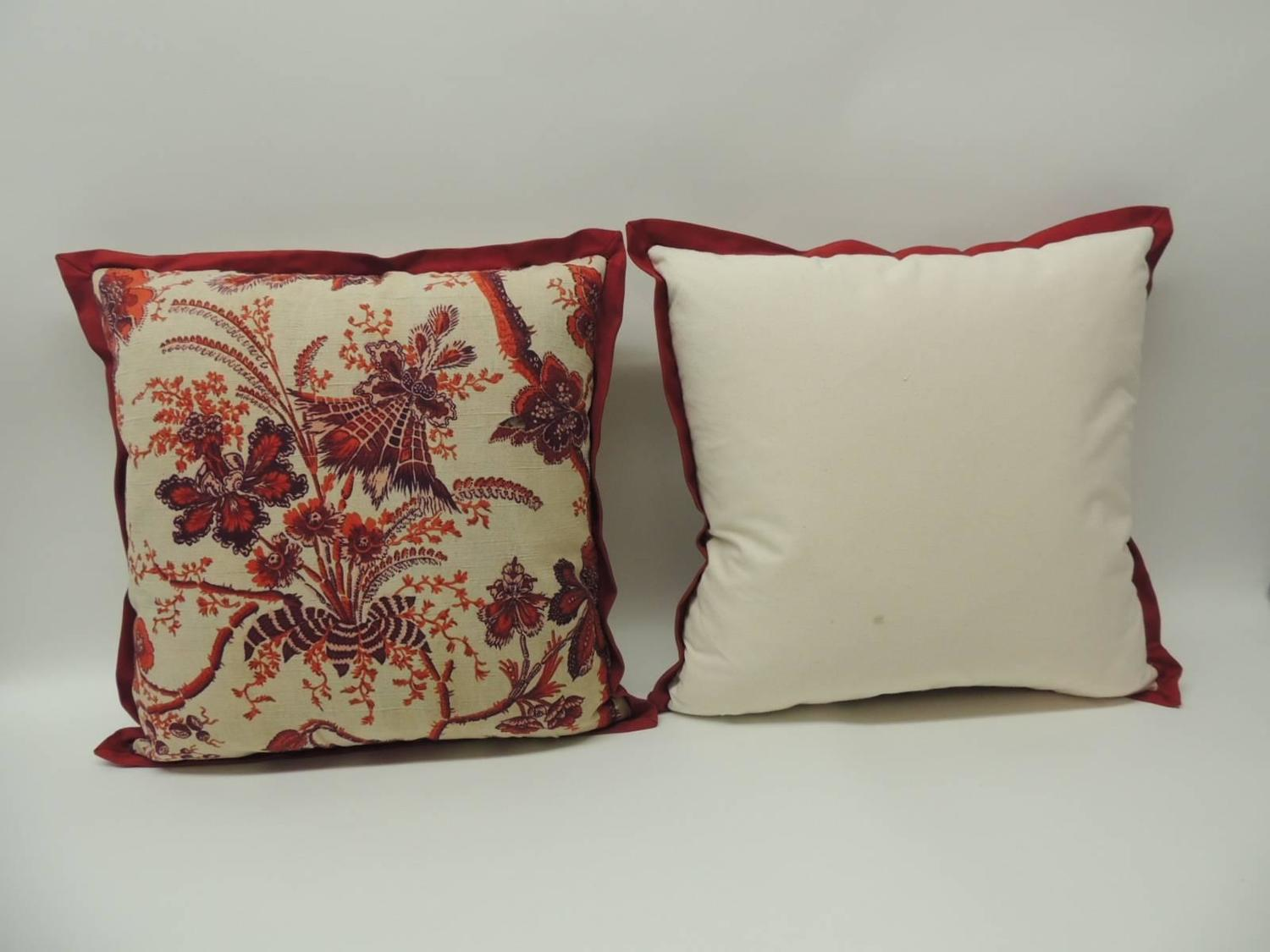 Pair of Vintage French Scarlet Red Printed Linen Decorative Pillows For Sale at 1stdibs