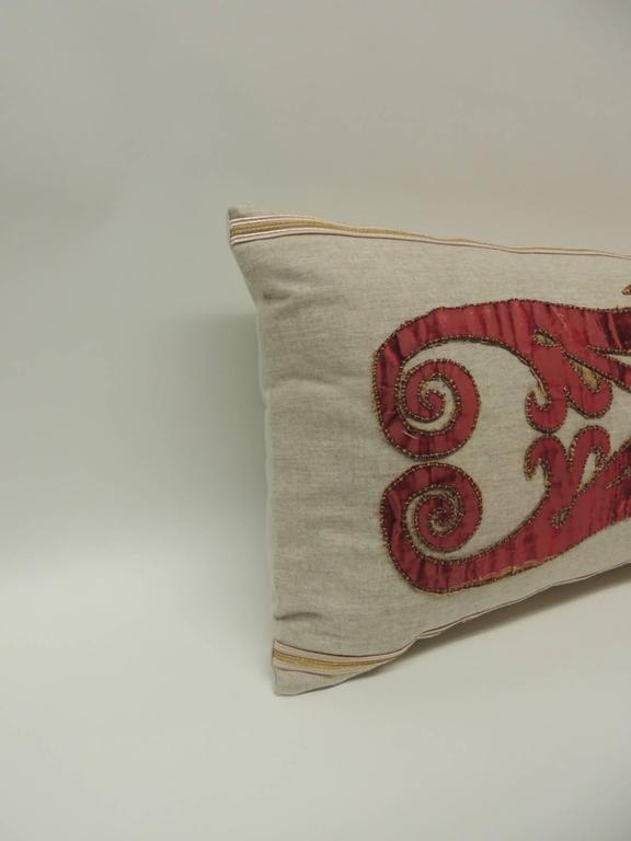 Belle Époque Byzantine Style Red Cut Velvet Appliqué Decorative Bolster Pillow For Sale