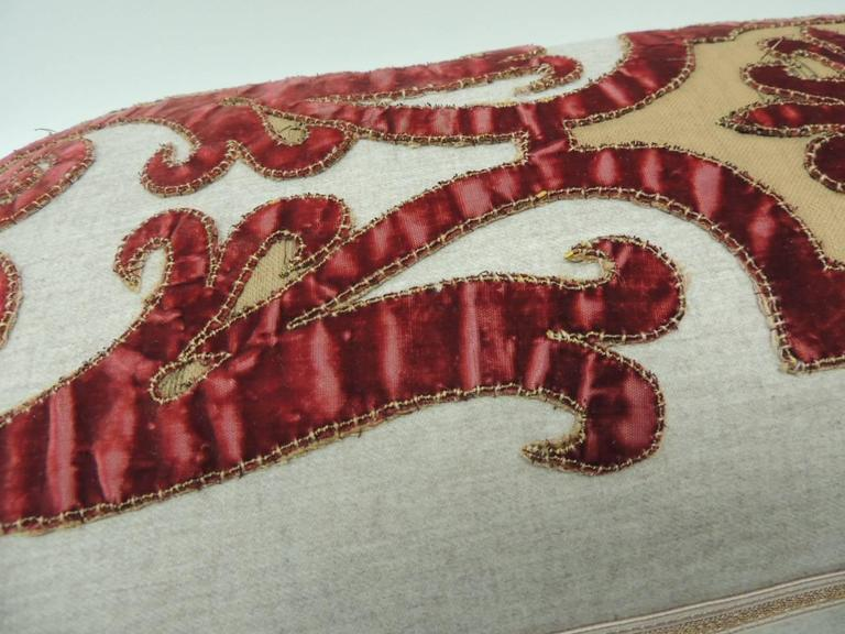 Hand-Crafted Byzantine Style Red Cut Velvet Appliqué Decorative Bolster Pillow For Sale