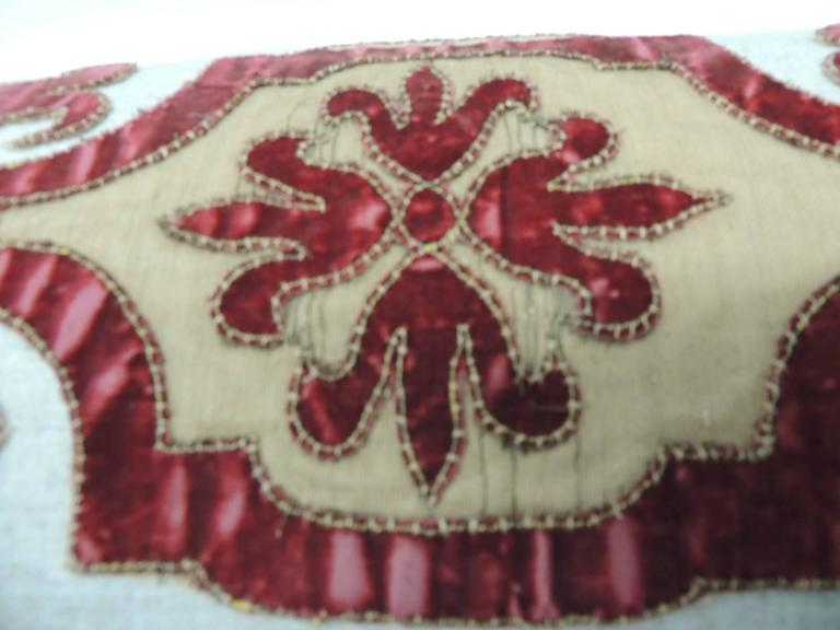 Byzantine Style Red Cut Velvet Appliqué Decorative Bolster Pillow In Good Condition For Sale In Fort Lauderdale, FL
