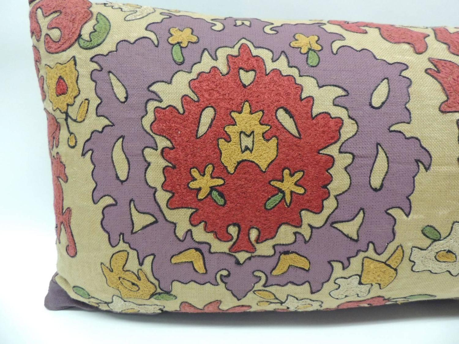 Large Decorative Bolster Pillows : 19th Century Long Uzbek Vintage Suzani Large Bolster Decorative Pillow For Sale at 1stdibs