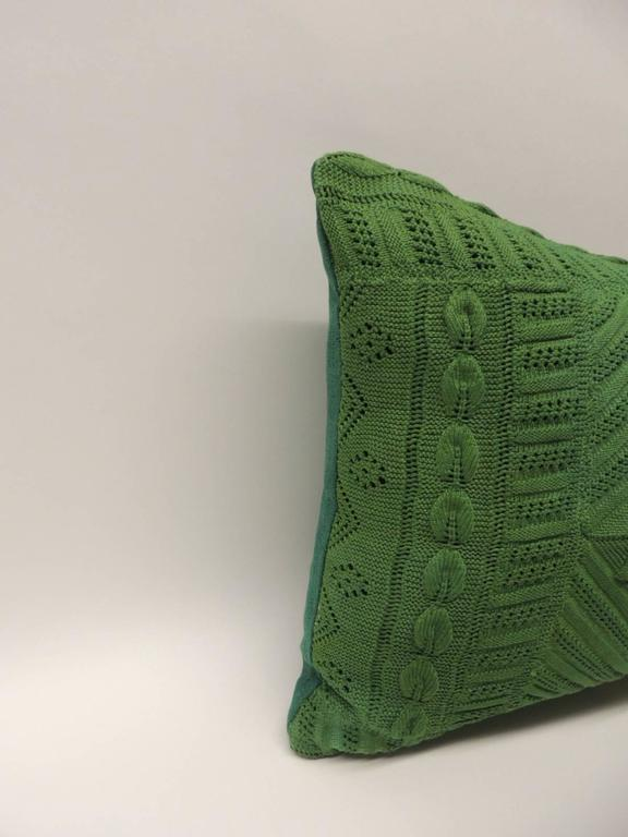 Decorative Lumbar Pillows Green : Vintage Kelly Green Crochet Lumbar Decorative Pillow For Sale at 1stdibs