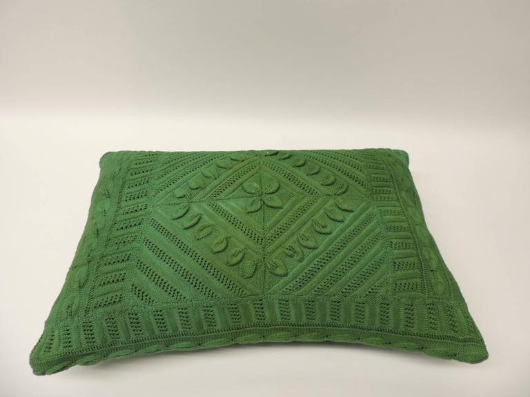 Decorative Lumbar Pillows Green : Vintage Kelly Green Crochet Lumbar Decorative Textured Finish Pillow For Sale at 1stdibs